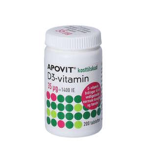 Apovit D3-vitamin tabletter (35 mikg) 200 stk